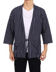 Best Rated Cyber Low Profit Men Cotton Drop Shoulder Striped Lace Up Casual Kimono Cardigan With Pocket Black Intl