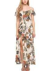 Price Sale At Breakdown Price Cyber Low Profit New Women Casual Slash Neck Off Shoulder Backless Floral Prints Side Split Maxi Dress White Intl Not Specified