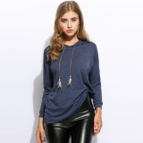 Sale At Breakdown Price Cyber Low Profit Women Casual Loose Long Sleeve Pendant Drawstring Hooded Hoodies Dark Blue Intl Sale