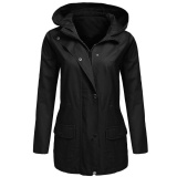 Low Price Cyber Low Profit Women Zip Up Solid Drawstring Hooded Military Jacket With Pocket Black Intl