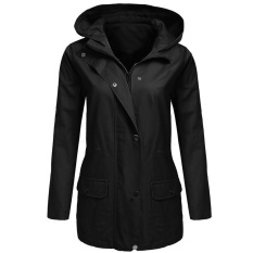 Latest Cyber Low Profit Women Zip Up Solid Drawstring Hooded Military Jacket With Pocket Black Intl