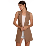 Cyber Meaneor Stylish Ladies Women Casual Sleeveless Lapel Pocket Solid Vest Coat Long Jacket Waistcoat Cardigan Dark Khaki Compare Prices