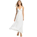 Brand New Sale At Breakdown Price Cyber Meaneor Women Adjustable Strap V Neck Maxi Dress High Waist Soild Casual Party Slim Pleated Long Dress White