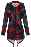 Cyber Meaneor Women Girls Dot Raincoat Fishtail Hooded Print Jacket Rain Coat Black And Red Shopping