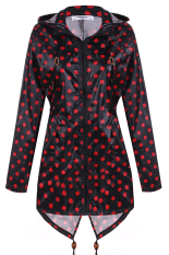 Low Price Cyber Meaneor Women Girls Dot Raincoat Fishtail Hooded Print Jacket Rain Coat Black And Red