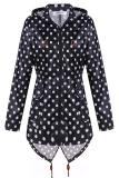 New Cyber Meaneor Women Girls Dot Raincoat Fishtail Hooded Print Jacket Rain Coat Black And White