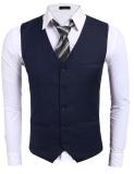 Sale Cyber Men Basic Slim Single Breasted Contrast Color Patchwork Business Suit Vest Navy Blue Intl