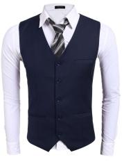 Buy Cyber Men Basic Slim Single Breasted Contrast Color Patchwork Business Suit Vest Navy Blue Intl Unbrand Original