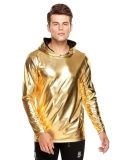 Coupon Cyber Men Casual Metallic Hooded Long Sleeve Nightclub Style Solid Hoodie Gold Intl