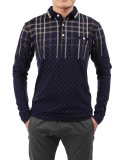 Buy Sale At Breakdown Price Cyber Men Long Sleeve Turn Down Collar Polo Shirts Print Loose T Shirt Front Pocket Navy Blue Intl On Hong Kong Sar China