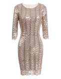 Cyber Promotion 3 4 Sleeve Sequins Round Collar Vintage Styles Bodycon Club Party Dress Apricot Intl Free Shipping
