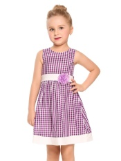 Recent Sale At Breakdown Price Cyber Promotion Kids G*rl O Neck Sleeveless Cute Pattern Plaid Patchwork Dress With Belt Purple Intl
