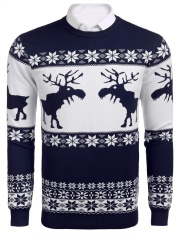 Cyber Promotion Men S O Neck Long Sleeve Christmas Thin Knit Casual Pullover Sweater Blue Intl Coupon