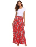 Price Comparisons Sale At Breakdown Price Cyber Promotion Women High Elastic Waist Print Bohemia Style Maxi Long Skirt Ruffles Beach Floral Intl