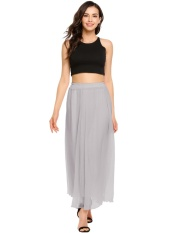 Discount Sale At Breakdown Price Cyber Promotion Women High Waist Maxi Long Pleated Skirt Beach Casual Party Grey Intl Hong Kong Sar China