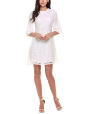 Compare Price Sale At Breakdown Price Cyber Sales Women O Neck Half Flare Sleeve Cocktail Party Crochet Lace A Line Dress White Intl Acevog On Hong Kong Sar China
