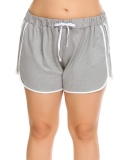 Price Comparisons For Sale At Breakdown Price Cyber Sales Women Plus Size Elastic Waist Patchwork Summer Sports Casual Shorts Grey Intl