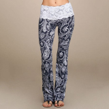 How To Get Cyber Summer Boho Hippie Women High Elastic Waist Lace Floral Printed Casual Trousers Yoga Long Pants Blue