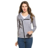 Where Can You Buy Sale At Breakdown Price Cyber Top Sale New Fashion Women Casual Hooded Long Sleeve Solid Zipper Hoodie Grey Intl
