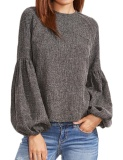 Purchase Sale At Breakdown Price Cyber Top Sale Women Lantern Sleeve Tops O Neck Long Sleeve Solid Casual Blouse Dark Grey Intl Online