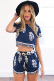Buy Cyber Two Piece Set Women Casual Print Short Sleeve Crop Tops Elastic Waist Shorts Sets Navy Blue