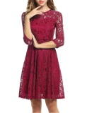 Shop For Sale At Breakdown Price Cyber Women Casual O Neck 3 4 Sleeve Floral Lace Zipper A Line Pleated Dress Wine Red Intl