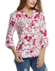 For Sale Cyber Women Casual V Neck Roll Up Sleeve Floral Print High Low Hem Blouse Tops Red Intl