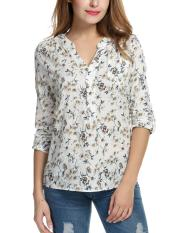 Buy Cyber Women Casual V Neck Roll Up Sleeve Floral Print High Low Hem Blouse Tops White Intl Cheap Singapore
