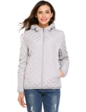 Buy Cyber Women Hooded Light Weight Winter Down Jacket Short Slim Coat With Fleece Lining Grey Intl Online