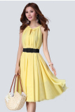 Best Price Cyber Women Loose Chiffon Round Neck Halter Sleeveless Solid A Line Dress With Belt Yellow