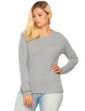 Top 10 Cyber Women Plus Long Sleeve Solid Basic Tee Casual Loose T Shirt Tops Grey Intl