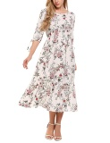 Get The Best Price For Sale At Breakdown Price Cyber Women Round Neck Slit Half Sleeve Elastic Waist Floral Fuffled Long Dress White Intl
