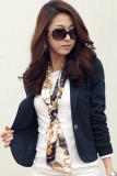 Buy Cyber Women Slim Casual Short Blazer Suit Jacket Coat Outwear Blue Online Singapore