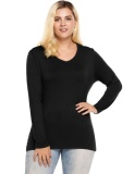 How Do I Get Cyber Women V Neck Long Sleeve Solid Casual Slim Fit T Shirt Plus Size Black Intl