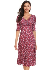Sale At Breakdown Price Cyber Women V Neck Puff Sleeve Ruched Bust Floral Print Casual Midi Dress Floral Intl Sale