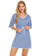 Price Sale At Breakdown Price Cyber Women V Neck Short Sleeve Striped Lace Trim Casual Mini Sleepwear Dress Blue And White Intl Online Hong Kong Sar China