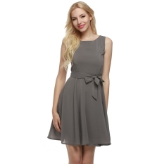 Sale At Breakdown Price Cyber Zeagoo Women Casual Sleeveless A Line Pleated Dress Grey On Hong Kong Sar China