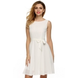 Purchase Sale At Breakdown Price Cyber Zeagoo Women Casual Sleeveless A Line Pleated Dress White