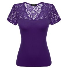 Purchase Sale At Breakdown Price Cyber Zeagoo Women Cotton Casual Lace V Neck Cap Sleeve Blouse Tops Purple Online