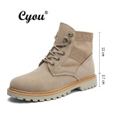 Price Cyou 2017 New Arrivals Men Boots High Quality Male Genuine Leather Boots Work Safety Boots Fashion Winter Genuine Leather Work Shoes Lelaki Kerja Kasut But Keselamatan Khaki Mid Top Intl Online China