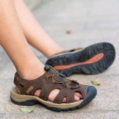 Best Cyou Brand Fashion Men Beach Sandals High Quality Summer Leather Men Sandals Brown Intl