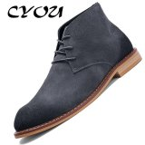 Coupon Cyou Men Boots Genuine Leather Business Formal Shoes Ankle Luxury Designer Dress Boots Navy Blue Intl