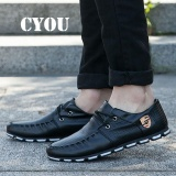 Promo Cyou Men S Casual Shoes Moccasins Leather Boat Shoes Men Formal Shoes Kasut Lelaki Black Intl
