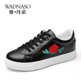 Buy Dannovo Leather Autumn And Winter New Embroidered Baymini Shoes Black Wadnaso