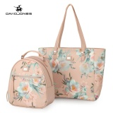 Lowest Price Davidjones Women Composite Bag Pu Embroidery Tote Femal Backpack Intl