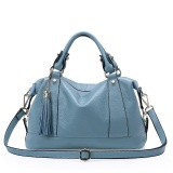 Recent Dayday Women Genuine Cow Leather Top Handle Bags Blue Intl