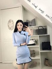 For Sale Debutante Deerskin Velvet Autumn And Winter Long Sleeved Collar Sheath Dress Cheongsam Light Blue