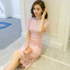 Best Offer Ladies Short Sleeve Midi Sheath Lace Dress Slim Fit Over Hip Qun Pink Pink