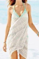 Deep V Backless Wrap Cotton Swimwear Bikini Beach Cover Up Sarong Beach Dress For Women White By Stoneky.