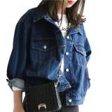 Buy Denim Coat Trendy All Match Pocket Button Jean Jacket Loose Jacket For Women Intl China